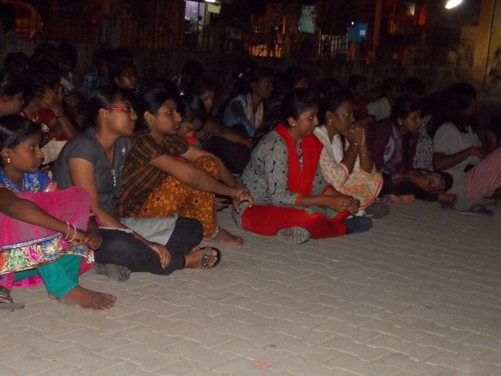 6. Madapakkam film screening- NSS students watching
